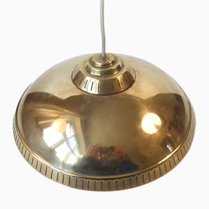 Mid-Century Swedish Brass Pendant Lamp by Hans Bergstrom for Asea, 1950s