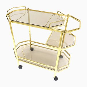 Vintage Hollywood Regency Style Glass & Brass Bar Cart