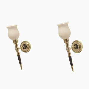 Mid-Century French Wood & Brass Wall Sconces from Maison Arlus, Set of 2