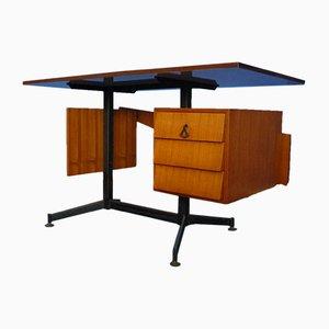 Italienischer Mid-Century Schreibtisch aus Teak und Weißem Formica, 1950er