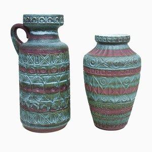 Jarrones vintage de cerámica de Alemania Occidental de Bodo Mans para Bay Keramik. Juego de 2