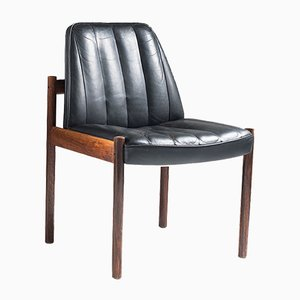 Rosewood & Leather Easy Chair by Sven Ivar Dysthe for Dokka Møbler, 1960s