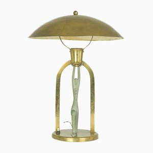 Vintage Art Deco Table Lamp with Stylized Figure