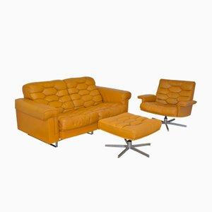 Juego de sofás de dos plazas DS-P vintage de cuero coñac de de Sede, años 70