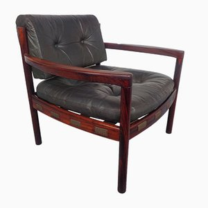 Mid-Century Swedish Rosewood and Black Leather Armchair by Arne Norell, 1960s