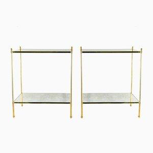 Mesas auxiliares vintage de latón dorado, años 70. Juego de 2