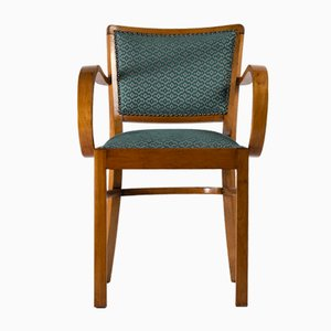 Green Art Deco Armchair, 1930s