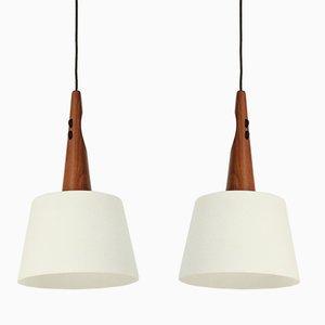 Lampade da soffitto in teak e vetro opalino, anni '60, set di 2