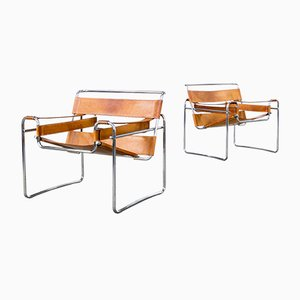 Wassily B3 Cognac Leather Chairs by Marcel Breuer for Gavina, 1960s, Set of 2