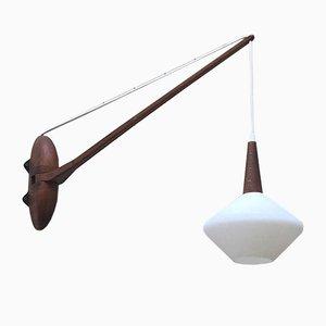 Lampe en Bois et Verre Opalin, Scandinavie, 1960s