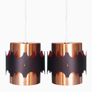 Danish Copper Pendant Lights, 1970s, Set of 2