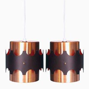 Luces colgantes danesas de cobre, años 70. Juego de 2