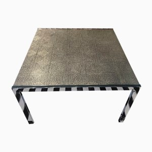 Vintage German Steel and Aluminum Coffee Table, 1970s