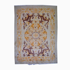 Alfombra china Art Déco vintage tejida a mano, años 30