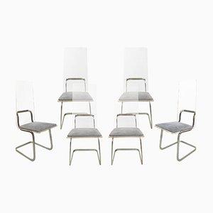 Metall & Plexiglas Stühle von Gary Gutterman, 1970er, 6er Set
