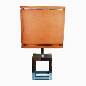 Lámpara de mesa italiana cúbica de Willy Rizzo para Lumica, años 70