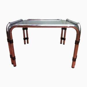 Tavolino da caffè con superficie in vetro fumé, anni '60