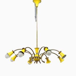Lámpara de araña italiana amarilla, años 50