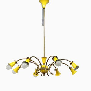Yellow Italian Chandelier, 1950s