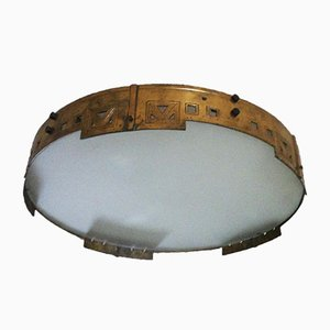 Large Spanish Art Deco Brass Flush Mount Ceiling Lamp, 1920s