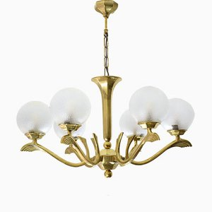 French Art Deco Brass Chandelier, 1930s