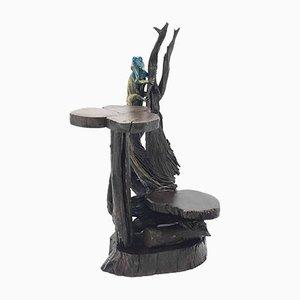 Mesa baja Mid-Century brutalista escultural de madera