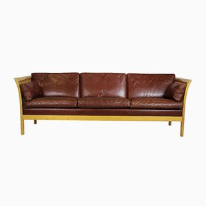 Swedish Leather Sofa by Arne Norell, 1960s