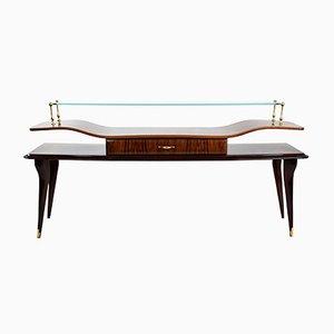 Table Console en Palissandre & Verre, Italie, 1950s