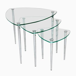 Mid-Century Italian Chrome and Glass Nesting Tables, 1960s