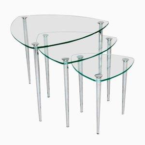 Mid-Century Italian Chrome and Glass Nesting Tables, 1960s