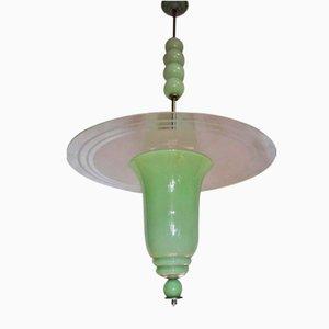 Lámpara de techo italiana Art Déco de vidrio color jade, años 30