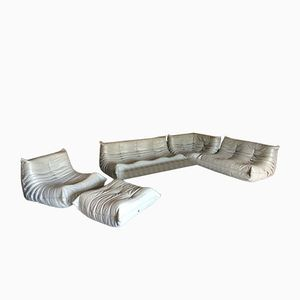 Light Grey Leather Togo Sofa Set by Michel Ducaroy for Ligne Roset, 1970s, Set of 3
