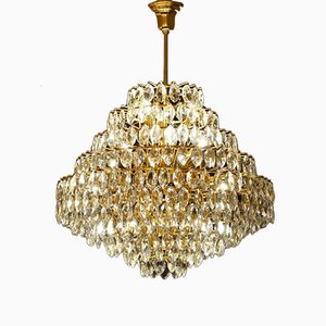 Vintage Brass & Glass Ceiling Light from Schröder Leuchten
