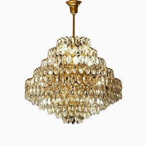 Vintage Messing & Glas Deckenlampe von Schröder Leuchten
