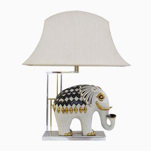 Mangani Porcelain Elephant Table Lamp, 1950s