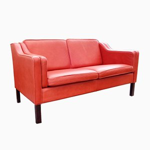 Vintage 2-Sitzer Eva Ledersofa von Stouby, 1980er