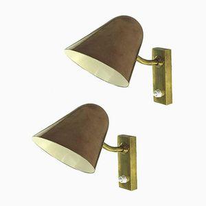 Schwedische Vintage Wandlampen aus Kupfer und Bronze, 1940er, 2er Set