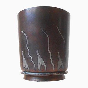 Dänische Art Deco Metallurgy Vase von G&C Copenhagen, 1921