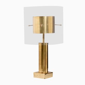 French Brass & Lucite Table Lamp, 1970s