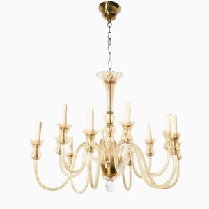 Twelve-Light Amber Murano Glass Chandelier, 1948