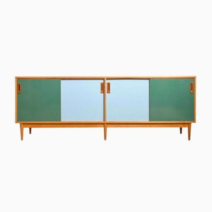 Large Multicolored Sideboard with Sliding Doors by Jos De Mey for Van den Berghe-Pouvers, 1958