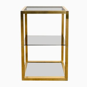 Vintage Italian Brass and Smoked Glass Vitrine by Romeo Rega, 1970s