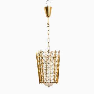 Lámpara colgante de linterna Mid-Century de cristal de Bakalowits & Söhne, años 50