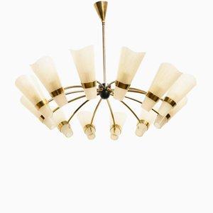 Luatre Sunburst Mid-Century à 12 Lampes en Laiton de Kalmar, Italie, 1950s