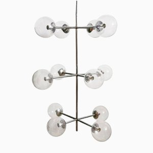Mid-Century Large Sputnik Chrome Light with 12 Big Clear Glass Globes by Kinkeldey, 1960s