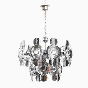 Lámpara de araña italiana Mid-Century de metal cromado con 15 luces de Oscar Torlasco