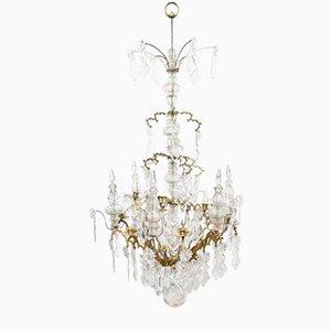 Lámpara de araña Baguès Doré francesa antigua de bronce y cristal