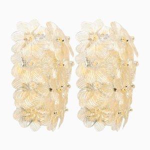 Applique Mid-Century floreali di Barovier&Toso, anni '50, set di 2