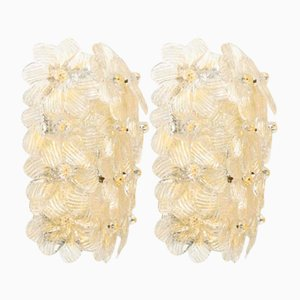 Mid-Century Blumen Wandlampen von Barovier&Toso, 1950er, 2er Set