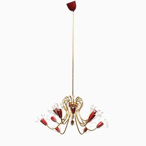 Mid-Century Brass and Crystal Chandelier with 12 Arms by Emil Stejnar for Rupert Nikoll, 1950s
